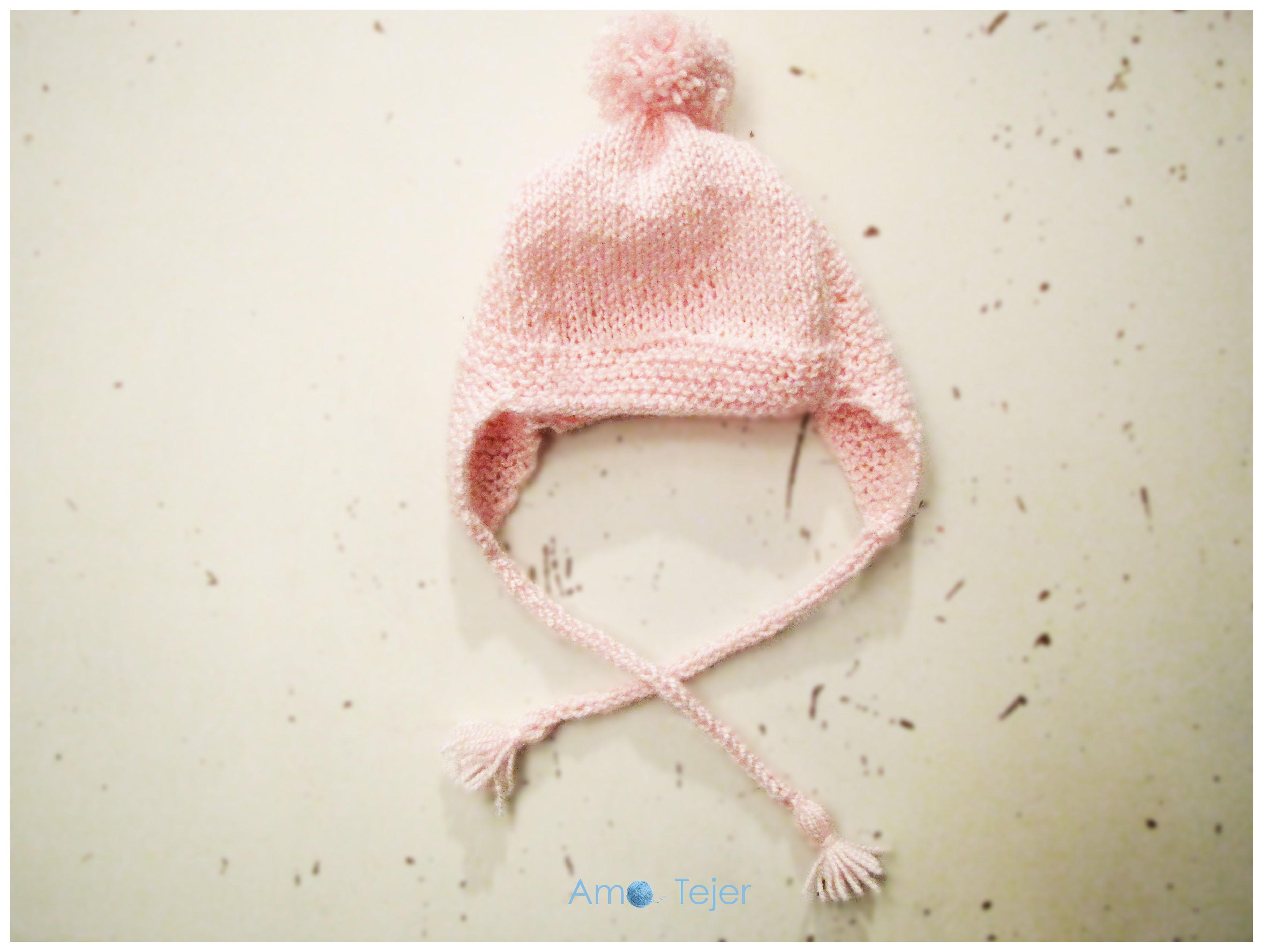 Gorro con orejeras para beba – Baby Girl´s hat with earflaps – Amo tejer